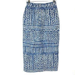 Vintage 80s western denim tribal midi pencil skirt